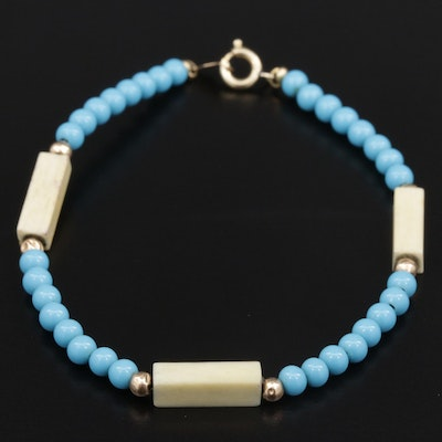 Imitation Turquoise and Resin Bracelet with 14K Yellow Gold Accents