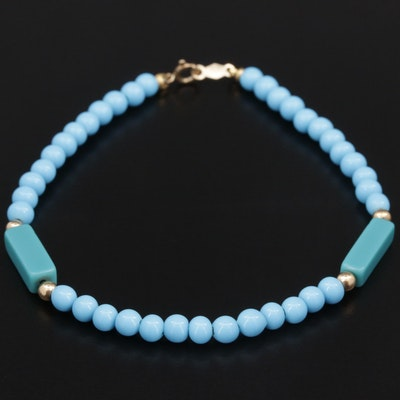 Imitation Turquoise Beaded Bracelet with 14K Yellow Gold Accents