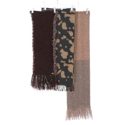 Noelle Bicolor and Liz Claiborne Reversible Brown Knit Fringed Scarves with More