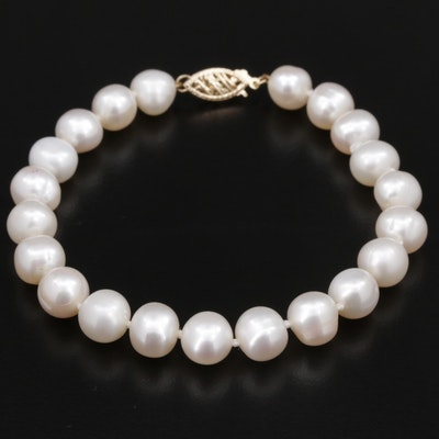 Cultured Pearl Strand Bracelet With 14K Yellow Gold Clasp