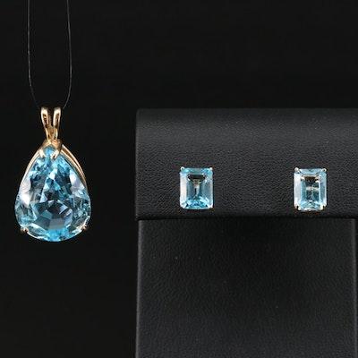 14K Topaz Pendant and Earring Set
