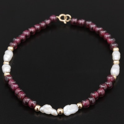 Cultured Pearl and Beaded Garnet Bracelet With 14K Gold Clasp and Spacer Beads