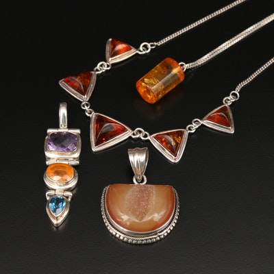 Sterling Necklaces and Pendants with Copal, Citrine, Topaz and Amethyst