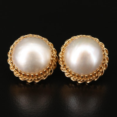 14K Gold and Cultured Pearl Stud Earrings