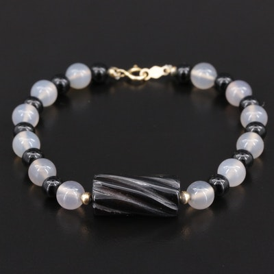 Black Onyx and Chalcedony Beaded Bracelet with 14K Gold Clasp and Spacer Beads