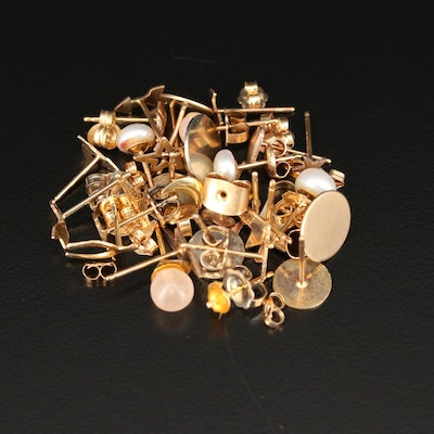 10K and 14K Gold Scrap Jewelry Including Pearl and Rose Quartz