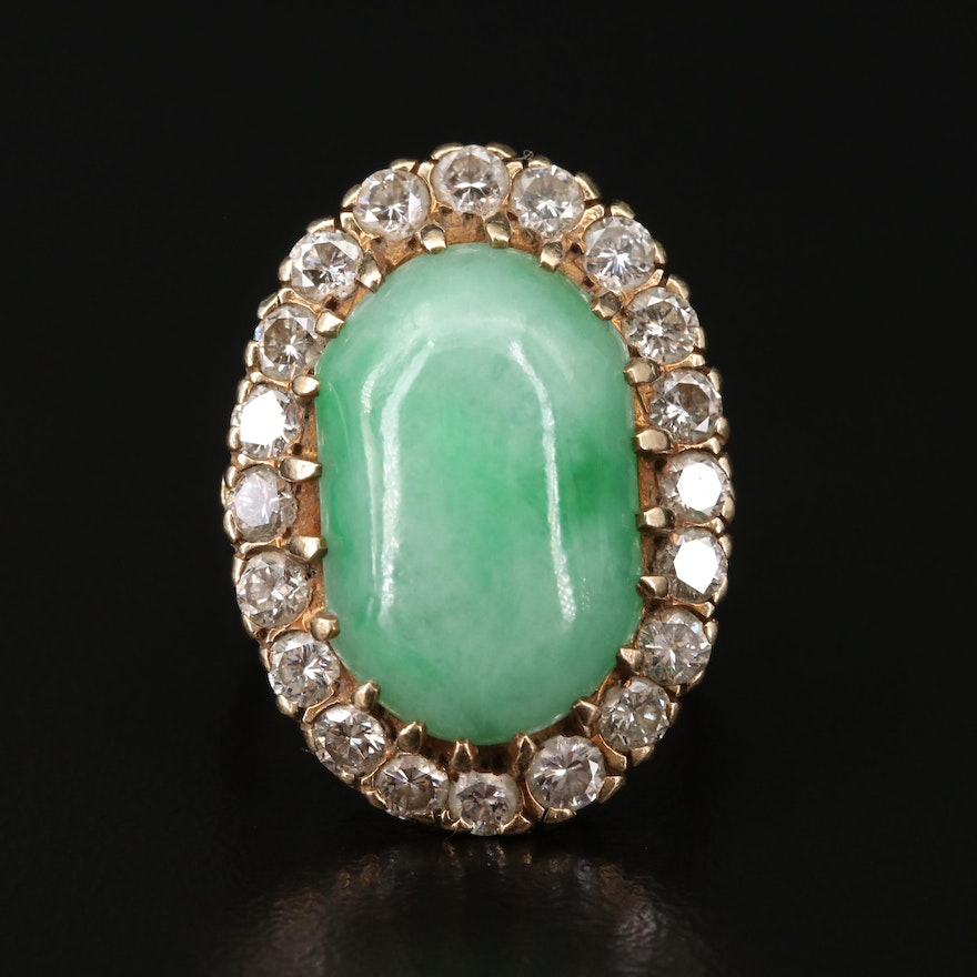 Vintage 14K Yellow Gold Jadeite and 1.90 CTW Diamond Oval Ring