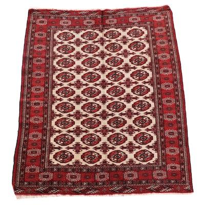 4'6 x 5'11 Hand-Knotted Afghani Bokhara Wool Rug