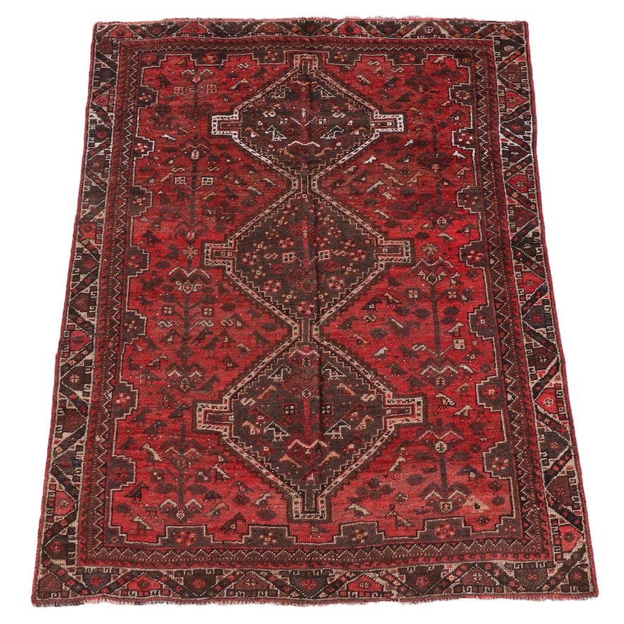 4'11 x 6'8 Hand-Knotted Persian Shiraz Wool Rug