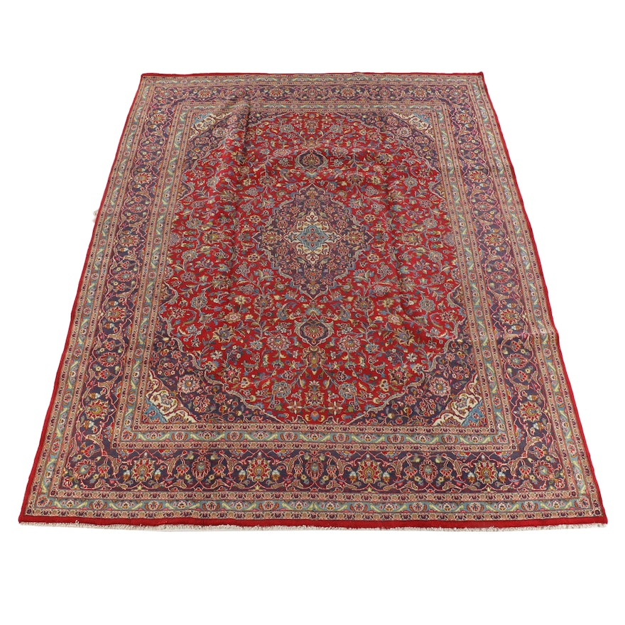 9'8 x 13'5 Hand-Knotted Persian Mashhad Wool Rug