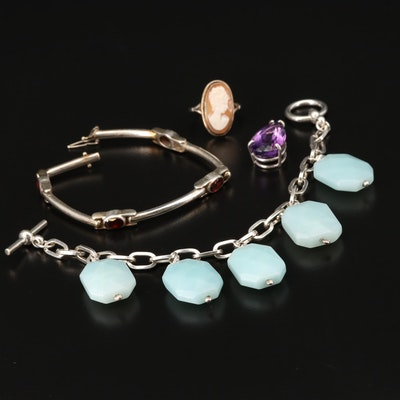 800 and Sterling Silver Amethyst, Garnet and Beryl Assorted Jewelry