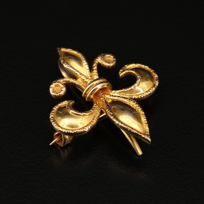Carter, Gough and Company 14K Fleur-de-lis Watch Brooch