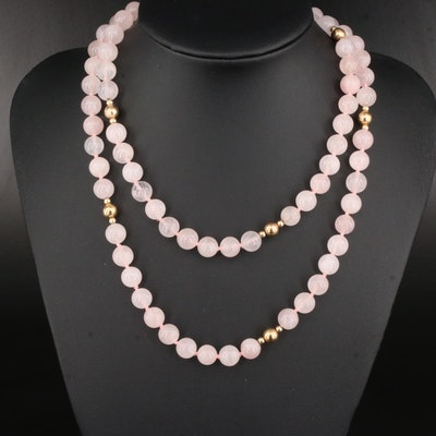Endless 14K and Rose Quartz Necklace