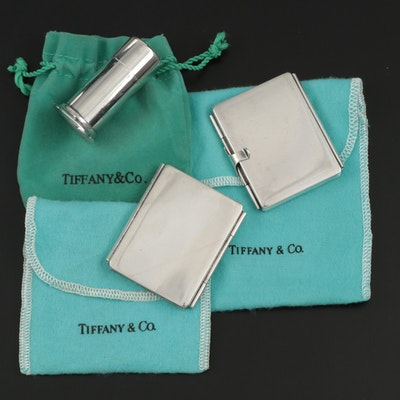 Tiffany & Co. Sterling Silver Stamp Cases and Stamp Moistener