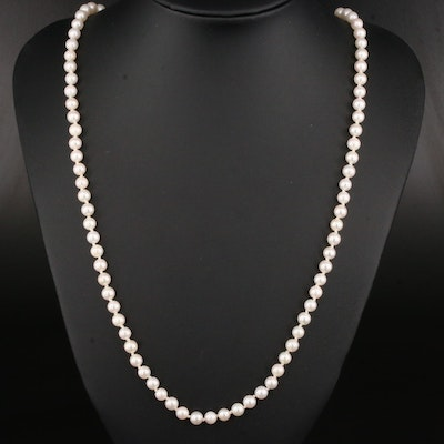 Pearl Knotted Necklace with 14K Yellow Gold Clasp