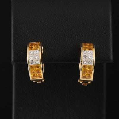 18K Gold Yellow Sapphire and Diamond J-Hoop Earrings