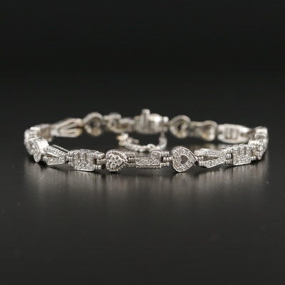 "18K White Gold 0.86 CTW Diamond ""LOVE"" Link Bracelet"