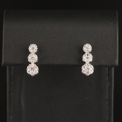 14K Gold 1.02 CTW Diamond Drop Earrings