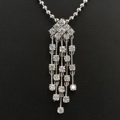 18K and 22K Gold 3.30 CTW Diamond Tassel Necklace