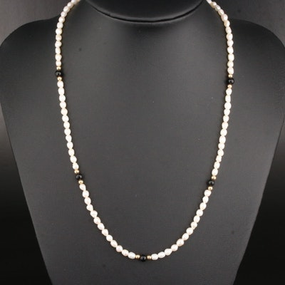 Cultured Pearl and Black Onyx Necklace With 14K Gold Clasp and Spacer Beads