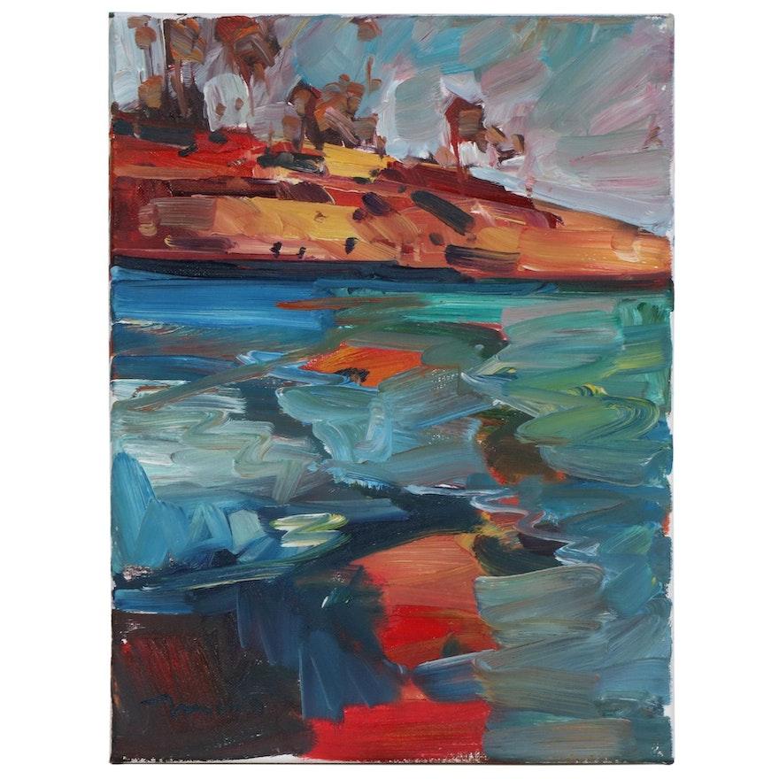 "Jose Trujillo Seascape Oil Painting ""Coastal Waters"", 2020"