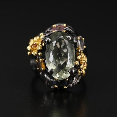 Sterling Silver Prasiolite, Citrine and Tourmaline Floral Motif Ring