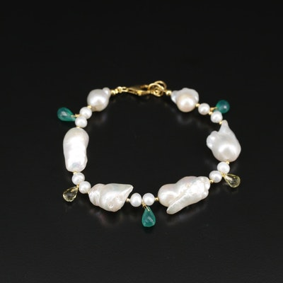 Sterling Silver Cultured Pearl, Chalcedony and Citrine Bracelet