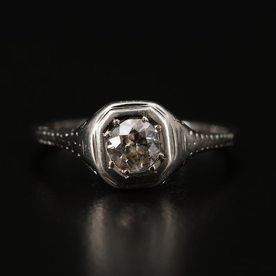 14K White Gold 0.38 CT Diamond Ring