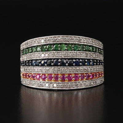 Sterling Band with 1.00 CTW Diamond, Ruby, Sapphire and Diopside