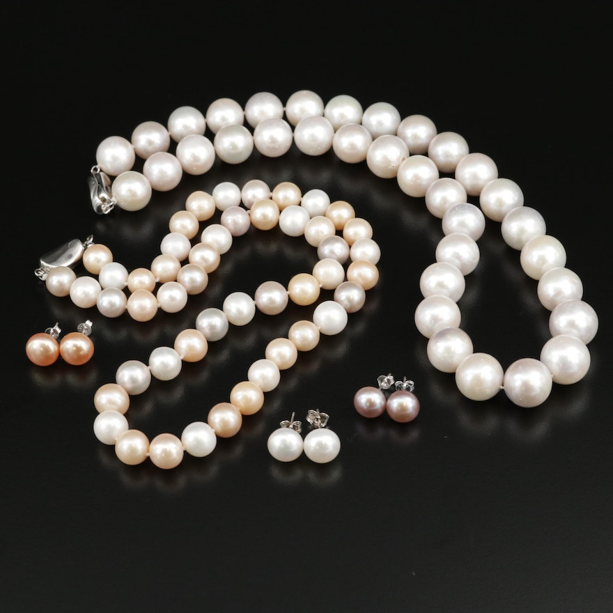 Sterling Silver, Cultured Pearl Strand Necklaces and Stud Earrings