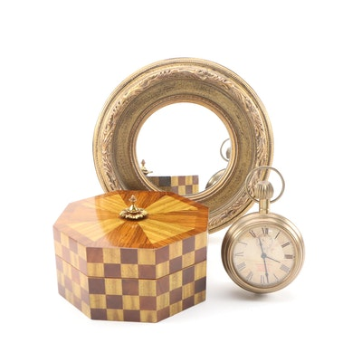 Thomas & Ross Brass Wall Clock with Maitland-Smith Marquetry Box and Gilt Mirror