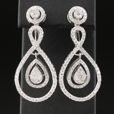 18K White Gold 3.10 CTW Diamond Dangle Earrings