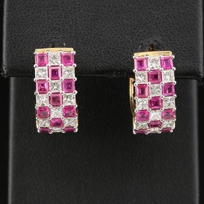 18K Yellow Gold Ruby and 1.75 CTW Diamond Huggie Earrings