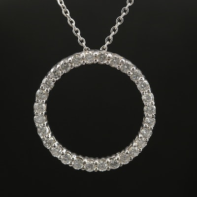 14K White Gold 1.50 CTW Diamond Ring Pendant on Chain