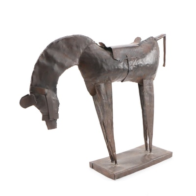 Folk Art Welded Sheet Metal Horse Sculpture