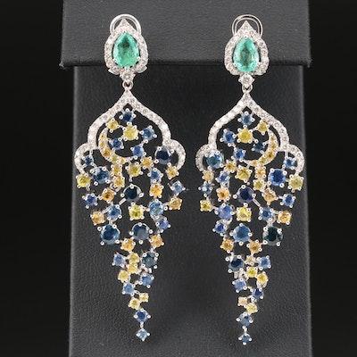 18K White Gold Emerald, Sapphire and 1.25 CTW Diamond Dangle Earrings