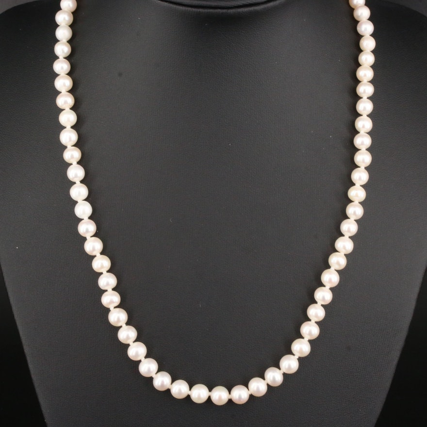 Cultured Pearl Strand Necklace With 14K Yellow Gold Clasp