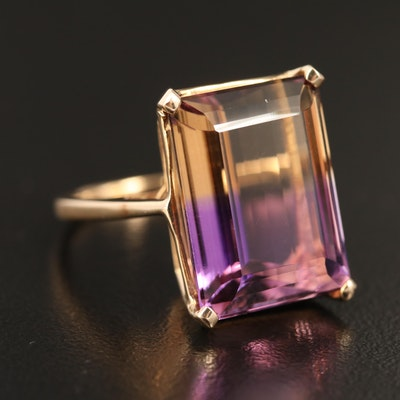 10K Gold 13.65 CT Ametrine Ring