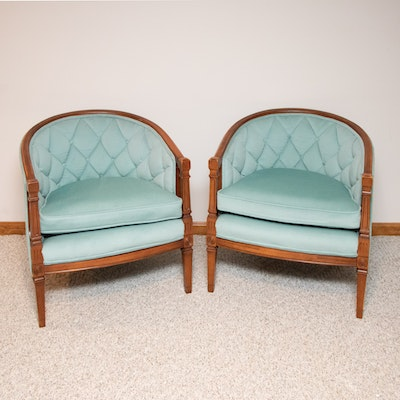 Pair of Mediterranean Style Upholstered Barrel Back Chairs, Mid-20th Century