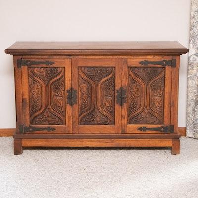 Tudor Style Carved Oak Cabinet