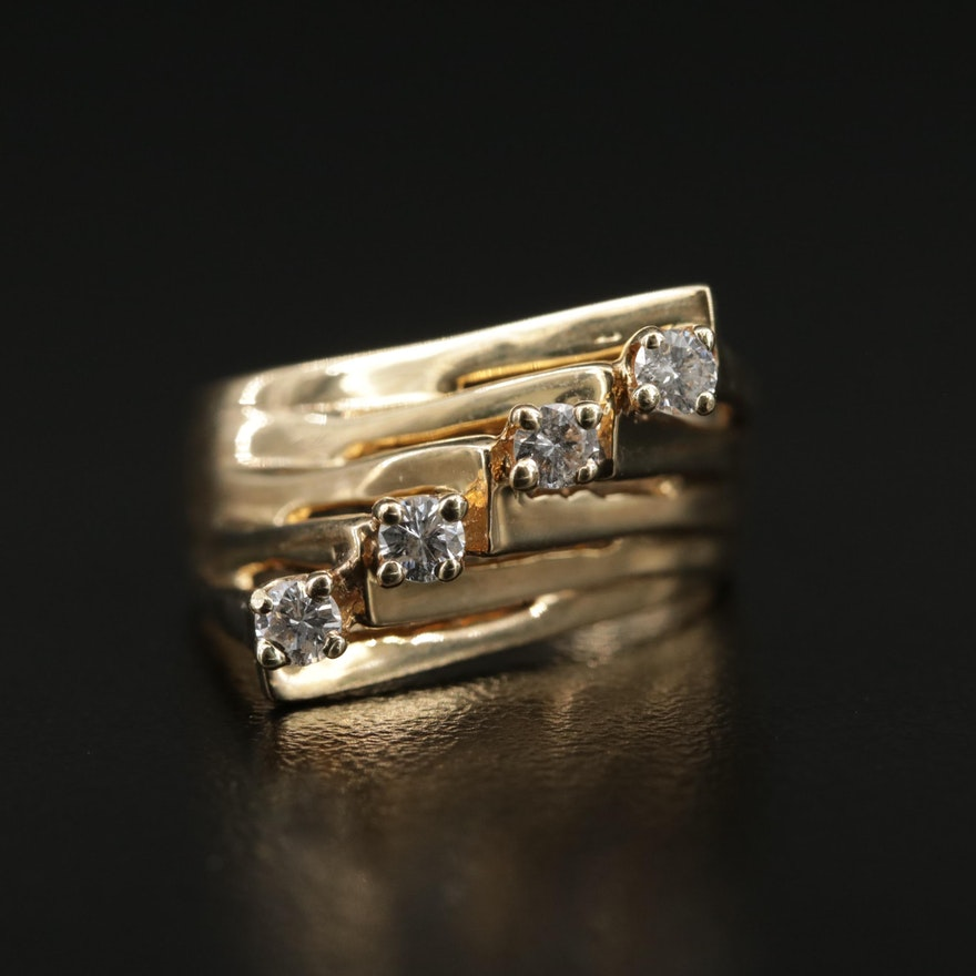 14K Yellow Gold Diamond Diagonal Ring