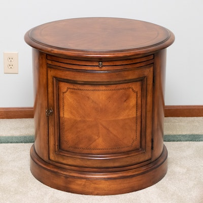 Inlaid Maple Cylindrical End Table