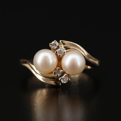 14K Gold Pearl and Diamond Bypass Ring
