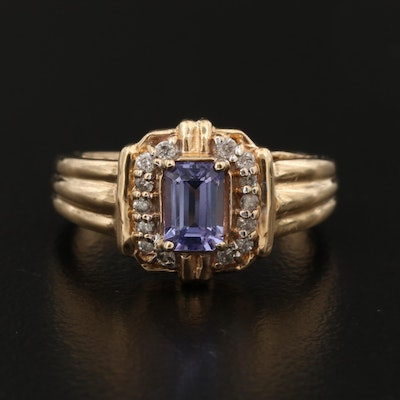 14K Gold Tanzanite and Diamond Halo Ring