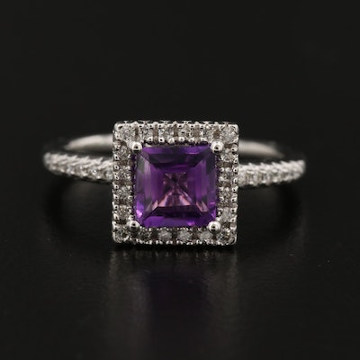 14K White Gold Amethyst and Diamond Halo Ring
