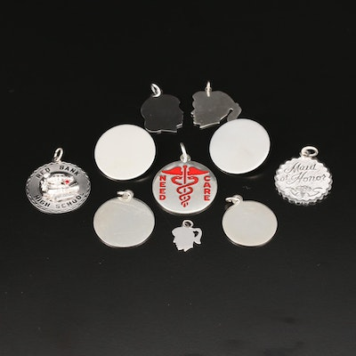Sterling Silver Charms and Pins with Silhouette and 'Maid of Honor' Pendants