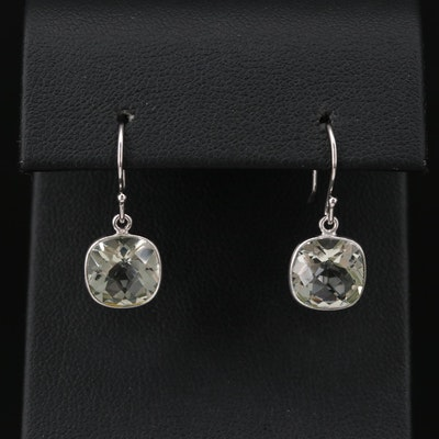 Sterling Silver Praseolite Dangle Earrings