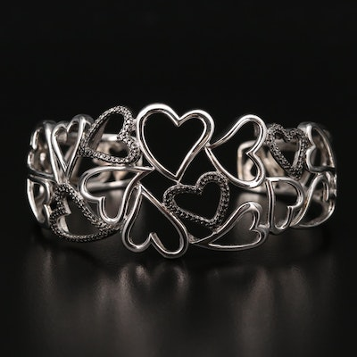 Sterling Openwork Heart Motif Cuff with Diamond Accents