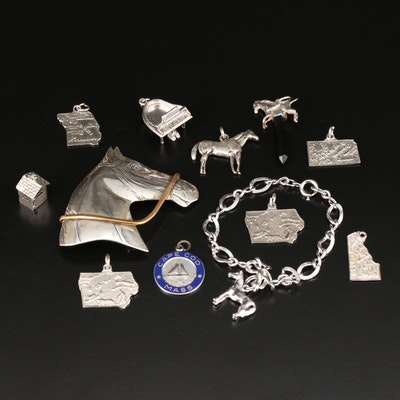 Sterling Silver Horse and State Theme Jewelry Featuring Danecraft
