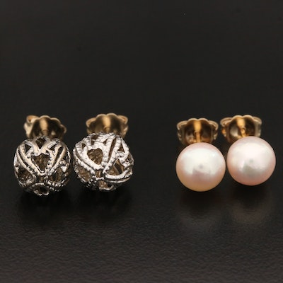 14K Yellow and White Gold Stud Earrings Including Cultured Pearl Accents